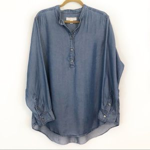 Michael Kors chambray blue denim tunic top 2X